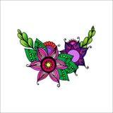 Ornamento dibujado mano con las flores stock de ilustración