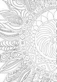 Ornamento disegnato a mano dei girasoli dello zentangle per il libro da colorare Fotografia Stock Libera da Diritti