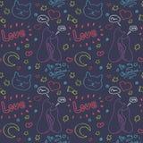 Ornamento disegnato a mano di vettore con i gatti e gli elementi romantici Concetto di giorno dei biglietti di S Immagini Stock Libere da Diritti
