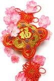 Ornamento do ano novo e flor de cereja chineses Foto de Stock