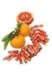 Ornamento do ano novo e tanjerinas chineses Imagens de Stock