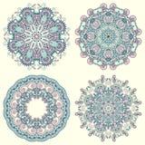 Ornamento do círculo, coleção redonda decorativa do laço Fotos de Stock