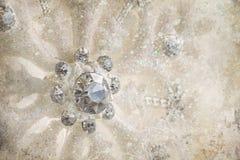 Ornamento do floco de neve com fundo do inverno imagem de stock