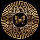 Ornamento do grego clássico com borboleta ilustração royalty free