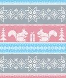 Ornamento do inverno com esquilos Vector o teste padrão sem emenda imagem de stock royalty free