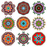 Ornamento do laço do círculo, geométrico decorativo redondo Imagens de Stock