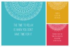 Ornamento do nacional da mandala ajuste ilustrações do vetor com relaxam citações Para a cópia ou o design web Islã, árabe, india Imagem de Stock
