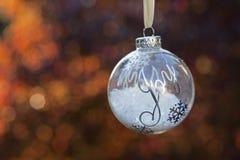 Ornamento do Natal com a alegria da palavra Fotografia de Stock Royalty Free