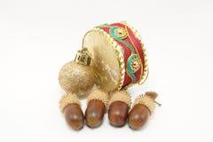 Ornamento do Natal com bolotas Foto de Stock Royalty Free