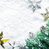 Ornamento do Natal com ramo do pinho no fundo da neve imagem de stock royalty free