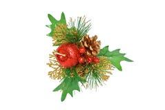 Ornamento do Natal - grren o pinho, a maçã e o cone Fotografia de Stock