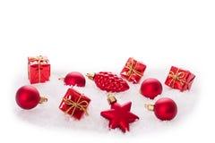 Ornamento do Natal na árvore de Natal com quinquilharias Fotos de Stock