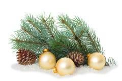 Ornamento do Natal na árvore de Natal com quinquilharias Foto de Stock