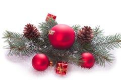 Ornamento do Natal na árvore de Natal com quinquilharias Fotografia de Stock
