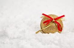 Ornamento do Natal na neve Fotografia de Stock Royalty Free