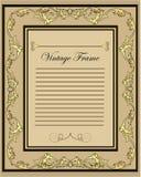 Ornamento do ouro do quadro do vintage com lugar para o texto Fotografia de Stock