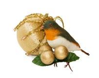 Ornamento do pássaro do Natal do vintage - trajeto de grampeamento imagem de stock royalty free