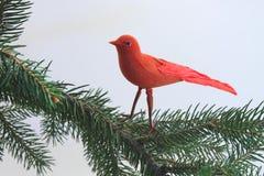 Ornamento do pássaro em uma árvore de Natal Fotografia de Stock