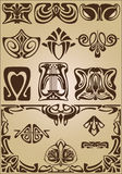 Ornamento do projeto dos elementos e dos cantos de Art Nouveau Fotografia de Stock Royalty Free