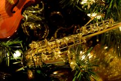 Ornamento do saxofone Fotografia de Stock Royalty Free