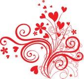 Ornamento do Valentim com coração-formas Fotos de Stock