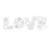 Ornamento do vetor da palavra da flor do amor para colorir Foto de Stock Royalty Free