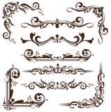 Ornamento do vintage do vetor, cantos, beiras Foto de Stock Royalty Free