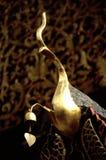 Ornamento dorato del cuore Fotografie Stock