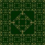 Ornamento dorato lussuoso su fondo verde scuro Fotografia Stock Libera da Diritti