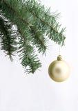 Ornamento dorato sull'albero di Natale Fotografie Stock