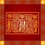 Ornamento dourado de indianos, do asteca e do Maya americanos ilustração stock