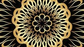 Ornamento dourado movente da roseta com efeito da transição no fundo preto Fundo video elegante ilustração stock