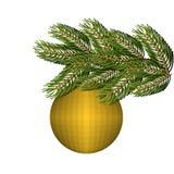 Ornamento enorme verde de la bola de la picea y del oro por la Navidad y el Año Nuevo Foto de archivo