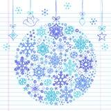 Ornamento esboçado Hand-Drawn do floco de neve do Doodle Fotografia de Stock Royalty Free