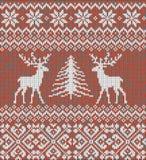 Ornamento escandinavo del invierno Modelo hecho punto inconsútil de Cristmas Fotos de archivo
