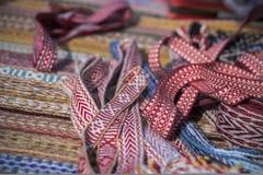 Ornamento eslavo tradicional, cinta para el bordado de la costura, rojo y marrón Imagenes de archivo