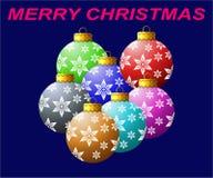 Ornamento especiais da bola do Natal coloridos com o tampão dourado bonito que tem projeto gerado por computador do efeito da luz ilustração do vetor