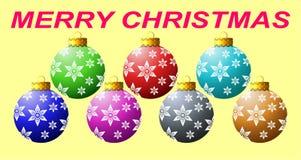 Ornamento especiais da bola do Natal coloridos com o tampão dourado bonito que tem projeto gerado por computador do efeito da luz ilustração royalty free