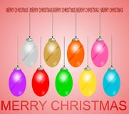 Ornamento especiais da bola do Natal coloridos com o tampão metálico bonito que tem projeto gerado por computador do efeito da lu ilustração do vetor