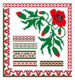 Ornamento etnico dello slavo con un papavero rosso Royalty Illustrazione gratis