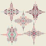 Ornamento etnico tribale di vettore Elementi aztechi della decorazione Progettazione tribale degli elementi isolata su fondo past Fotografie Stock Libere da Diritti