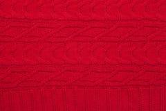 Ornamento feito malha vermelho de pano da tela Foto de Stock