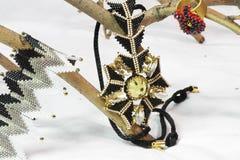 Ornamento feitos dos grânulos foto de stock