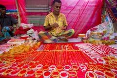 Ornamento feitos a mão coloridos, em um Bangla Pohela Baishakh justo Fotos de Stock Royalty Free