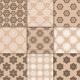 Ornamento florais bege de Brown Coleção de testes padrões sem emenda Foto de Stock Royalty Free