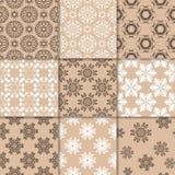 Ornamento florais bege de Brown Coleção de testes padrões sem emenda Fotos de Stock Royalty Free