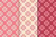 Ornamento florais de vermelho de cereja Grupo de testes padrões sem emenda verticais Fotos de Stock Royalty Free