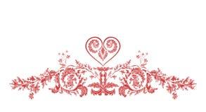 Ornamento florais e coração de Valentine Greeting ilustração royalty free
