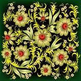 Ornamento floral abstracto con las flores del oro Fotos de archivo libres de regalías