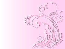 Ornamento floral abstracto en fondo rosado stock de ilustración